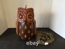 Vtg Ceramic Mold Light Up Owl 14 Swag Hanging Lamp Hand Painted Works Cute