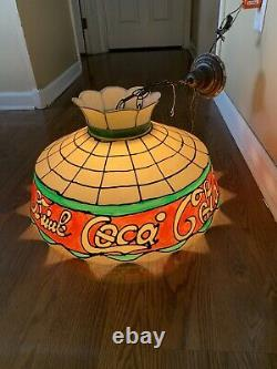 Vtg Drink Coca Cola Tiffany Style Plastic Pool Table Hanging Lamp Light Works