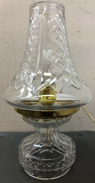 Waterford 12.75 Hurricane Table Nighstand Lamp Mint Light Crystal Works Vintage